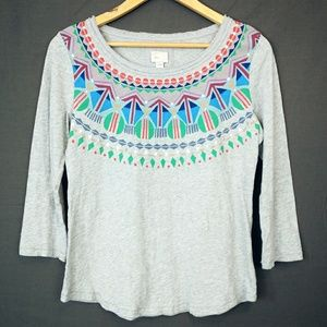 Anthropologie Postage Stamp Tribal Graphic Tshirt
